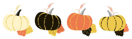 Nive vector pumpkins with tendril and leaves in autumn palette. Four different vector isolated elements for autumn banner, poster, festival placard, greeting card for thanksgiving.