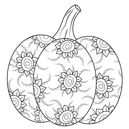 Doodle vector pumpkin with fun flourish ornament. Hand drawn autumn illustration for adult and children antistress drawing. Nice leisure activity. Eps10