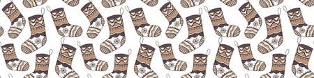 Nice Christmas stocking vector seamless pattern. Festive decorative illustration with doodle hand drawn sock in calm winter palette for wrapping paper, wallpaper, textile