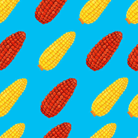 Yellow and red corn cob geometric seamless pattern on blue background. Nice maize watercolor illustration for cover, fabric, textile, t-shirt design, poster, wrapping, harvest festival, thanksgiving