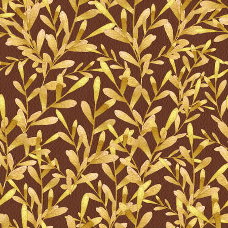 Gold seaweed on brown textured backdrop. Nice yellow branches with oval leaves watercolor seamless pattern for textile, wallpaper, fabric, postcard, invitation, cover, wrapping paper, print design