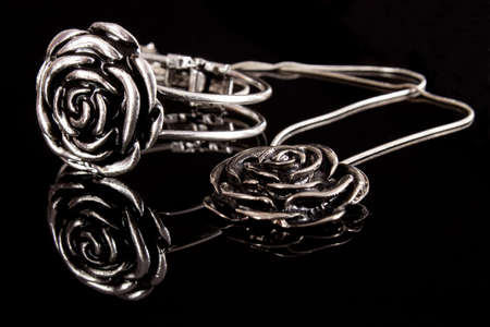 Necklace and bracelet - silver jewelry set with rose photo
