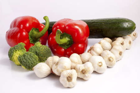 The ingredients for meal - peppers, garlic and broccoli Stock Photo