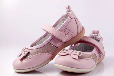 Beautiful pink shoes for girls Stock Photo