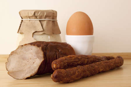 homely: Easter breakfast - ham, sausages, eggs and homely horseradish