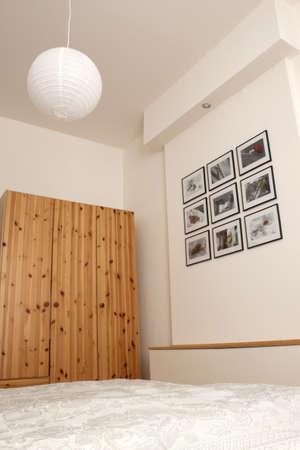 Modern bedroom with pine wardrobe Stock Photo - 13561916