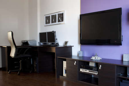 Modern living room with LCD TV photo