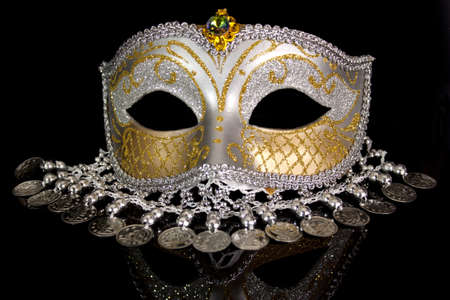Silver coin carnival mask photo