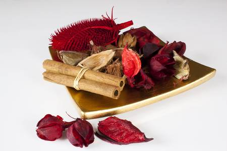 Red and brown Potpourri on the white background Stock Photo