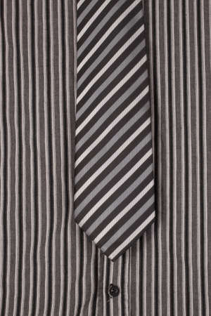 Black and white tie for man on the striped shirt Stock Photo