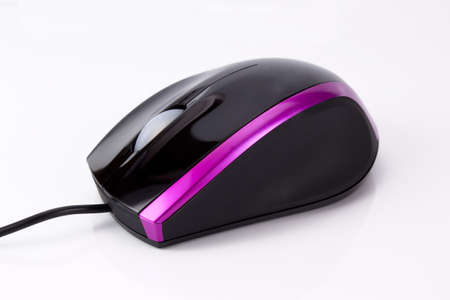 Black and pink computer mouse on a white background photo