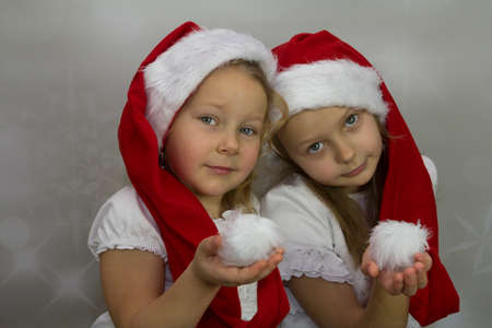 Nice girls in long santa hats