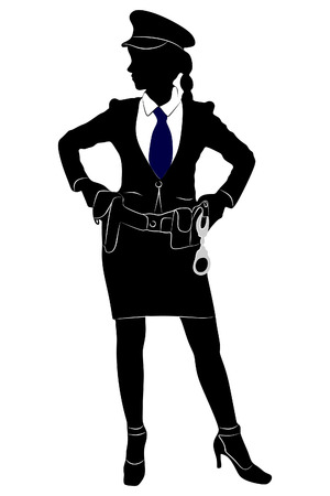 Woman police office Illustration