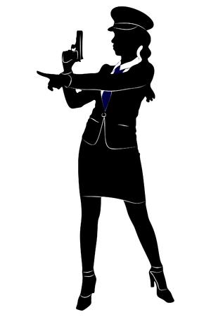 policewoman aiming gun