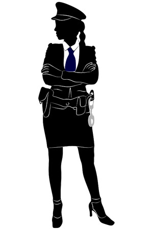handcuffs female: policeman posing with arms crossed against white background Illustration