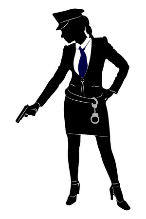 nude outdoors: Police Woman Aiming Gun Illustration