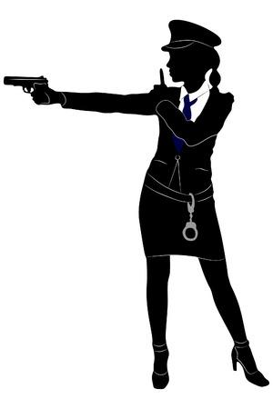 Police Woman Aiming Gun Illustration