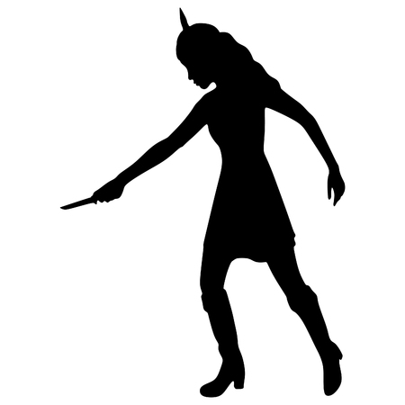 catfight: woman warrior with a knife