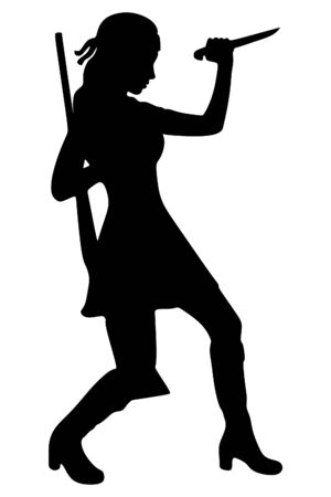 woman warrior with a rifle and knife Illustration