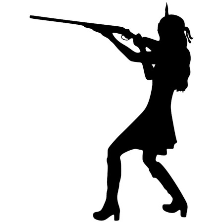 military girl: woman warrior with a rifle Illustration