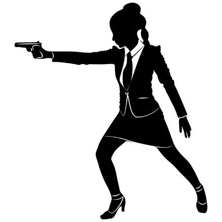 dangerous woman: Businesswoman holding a gun