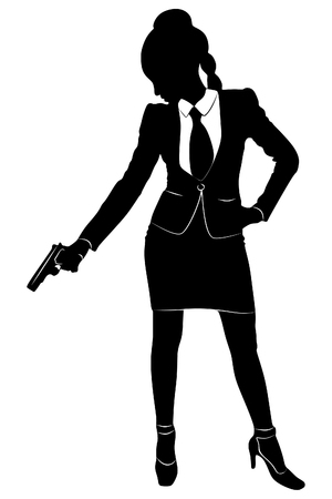 femme policier: Businesswoman tenir une arme à feu
