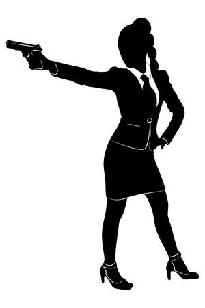 dangerous woman: bussineswoman aiming gun, vector