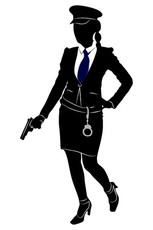 handcuffs female: woman police officer with gun Illustration