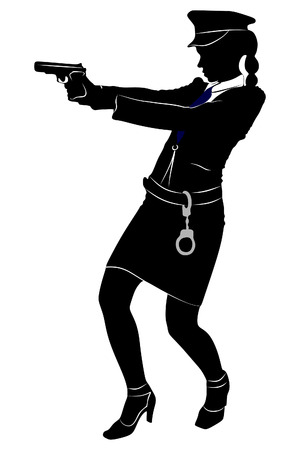 woman with gun: woman police officer with gun Illustration