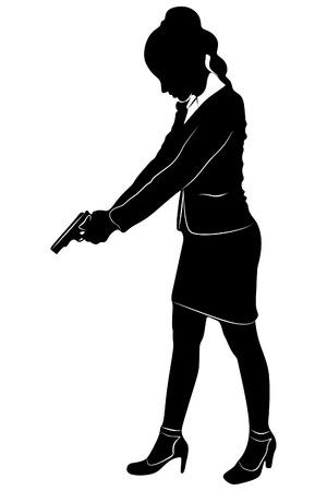 femme policier: bussineswoman visant pistolet, vecteur