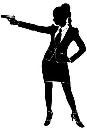 mujer policia: bussineswoman apunta el arma, vector Vectores