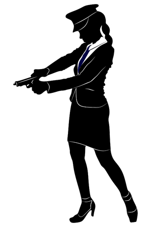 handcuffs woman: woman police officer with gun Illustration