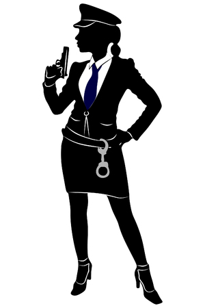 woman police officer with gun Illustration
