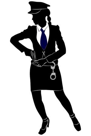 femme policier: femme officier de police avec un pistolet