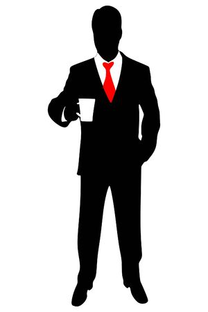 A man in a business suit with coffee