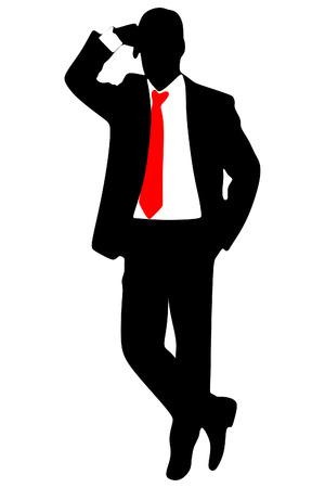 businessman standing: businessman standing isolated on white