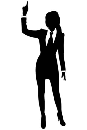 woman pointing up: Attractive business woman pointing up Illustration