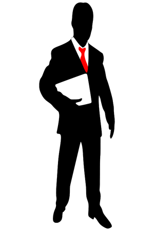 businessman standing: Businessman standing with folder in hands over white background