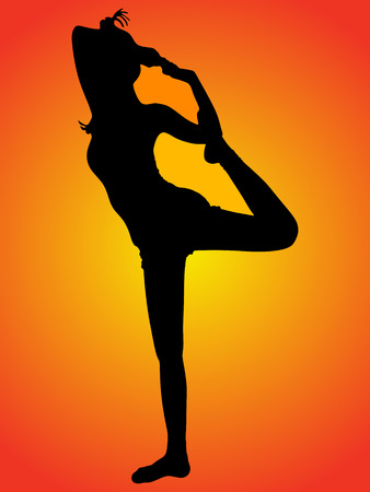 Beautiful sporty girl practices yoga or pilates, performing Natarajasana, Lord of the Dance pose Illustration