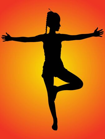 tree position: young woman in tree position during yoga practice, isolated