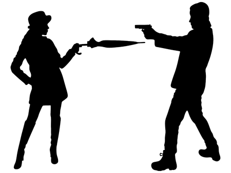 man aiming, woman with umbrella