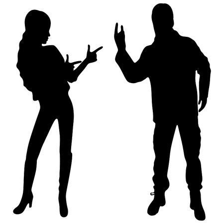 hot teenage girl: man giving the Rock and Roll sign, rock and roll couple Illustration