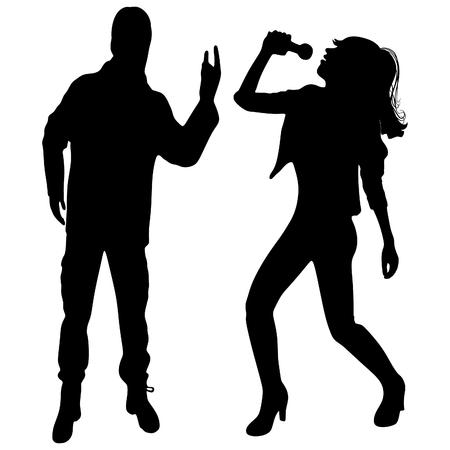 Mujer joven que canta con el micrófono, el hombre que da la muestra del Rock and Roll