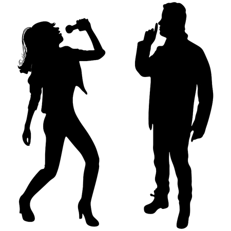 hush: Young woman singing with microphone, man show hush sign Illustration