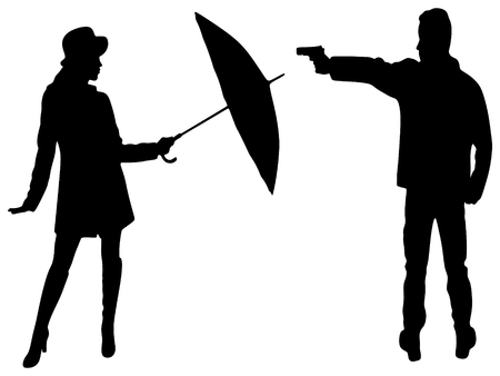 woman with gun: man with gun, young woman with umbrella
