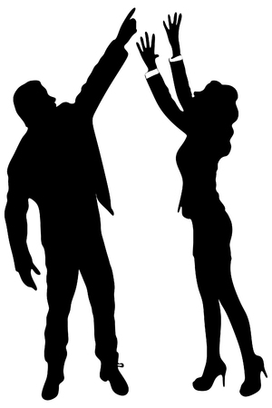 man pointing up: business woman trying to reach something with her hands, man pointing up