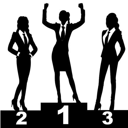 2 months: illustration of business women on podium