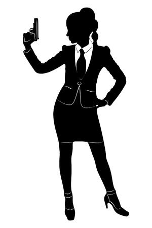 mujer policia: bussineswoman apunta el arma Vectores