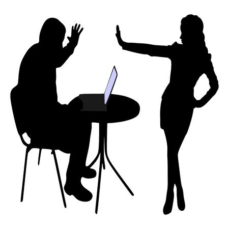 boos zakenman schreeuwen tijdens het Bedrijfs vrouw die stop gebaar met de hand Stock Illustratie