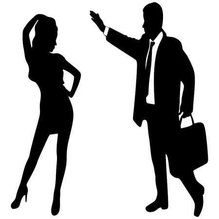 llamando: Hombre de negocios llamando a una mujer-mujer